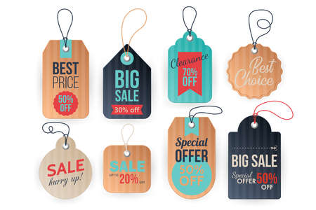 Realistic price tags set. Paper and cardboard sale labels template. Vector illustration Banque d'images - 128446690