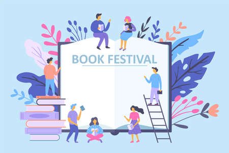 Book festival concept with small characters people reading books. Vector illustration Banque d'images - 128446703