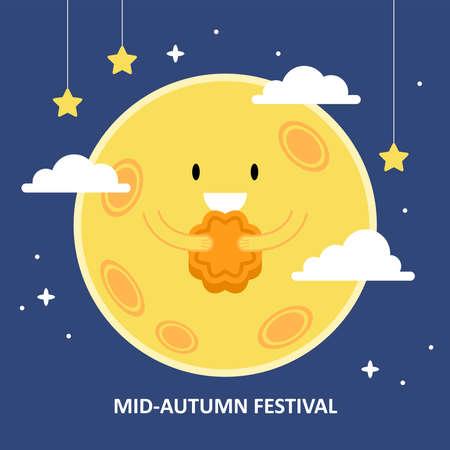 Mid autumn festival concept witn moon eating moon cake. Vector illustration Illusztráció
