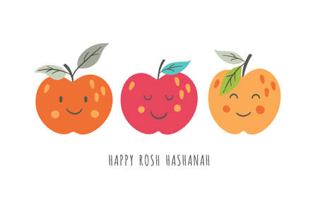 Cute apples charactes for Rosh Hashanah holiday. Childish print for greeting cards, stickers and party invitations