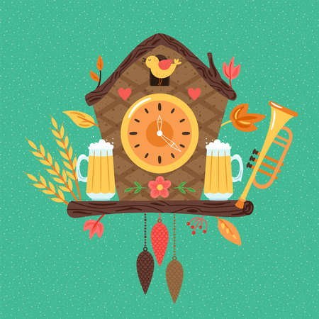 Oktoberfest cute cuckoo clock design. Childish print for  cards, party invitations and nursery decoration. Vector Illustration Banque d'images - 130212101