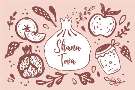 Rosh Hashanah (jewish new year) greeting card design with hand drawing apple, honey and pomegranate. Vector illustration Banque d'images - 130212112