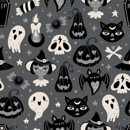 Halloween holiday cute seamless pattern design. Childish print for cards, textile, wrapping paper and party invitations. Vector illustration Illusztráció