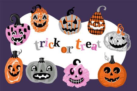 Halloween holiday banner design with cute jack o lantern pumpkins. Childish print for cards and party invitations. Vector illustration Banque d'images - 130212111