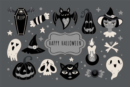 Halloween holiday cute elements set. Childish print for cards, stickers and party invitations. Vector illustration Banque d'images - 130212108