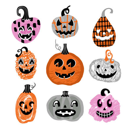Halloween holiday cute jack o lantern pumpkin set. Childish print for cards, stickers and party invitations. Vector illustration Banque d'images - 130212110