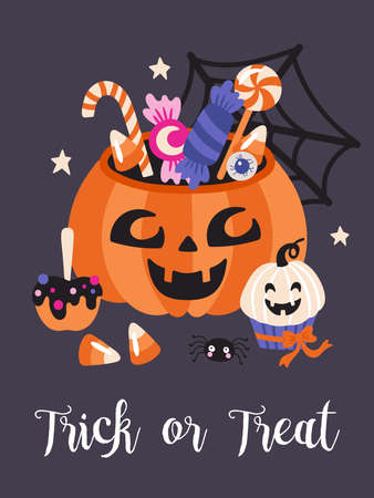 Halloween holiday cute party poster design. Childish print for cards and party invitations. Vector illustration Banque d'images - 130212109