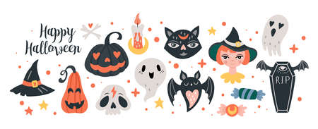 Halloween holiday cute elements set. Childish print for cards, stickers and party invitations. Vector illustration Banque d'images - 130212116