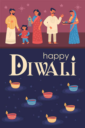 Diwali Hindu festival greeting card design with cute people characters. Childish print for card, stickers and party invitations. Vector illustration 일러스트