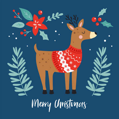 Christmas holiday cute reindeer character. Childish print for cards, stickers, apparel and nursery decoration. Vector Illustration