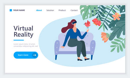 Web design template  for virtual reality technology concept. Vector illustration for web design. Banque d'images - 134204755