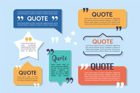 Text quote box and speech bubble templates set. Design elements for speech bubbles frames. Vector illustration