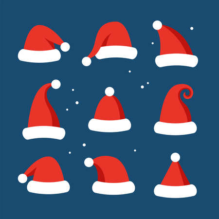 Santa hats set for Christmas and New Year graphics and web design. Flat style vector illustration Illustration