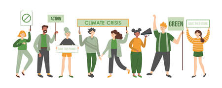 Climate crisis protesters holding placards. Political meeting concept. Women and men flat characters design Banque d'images - 134204765
