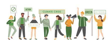Demonstranten der Klimakrise mit Plakaten. Politisches Sitzungskonzept. Design mit flachen Charakteren für Frauen und Männer