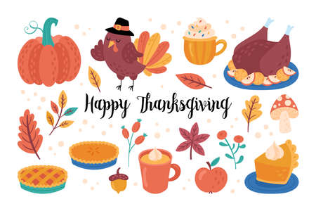 Thanksgiving holiday cute elements set. Childish print for cards, stickers and party invitations. Vector illustration Banque d'images - 132718436