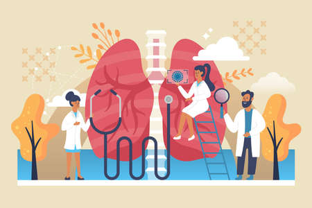 Lungs healthcare concept. Pulmonology examination and treatment with doctors characters. Flat vector illustration Illusztráció
