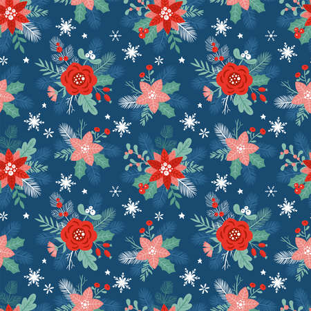 Seamless pattern design for Christmas holiday with winter flowers, fir tree branches and berries. Childish print for cards and invitations. Vector Illustration Banque d'images - 134204761