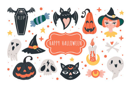 Halloween holiday cute elements set. Childish print for cards, stickers and party invitations. Vector illustration Banque d'images - 132718673