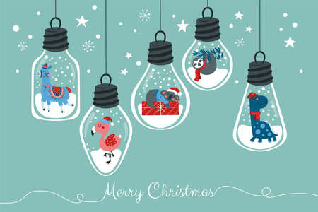 Christmas holiday cute animals in hanging light bubls.  Childish print for cards, stickers, banners and party invitations. Vector Illustration Banque d'images - 134204764