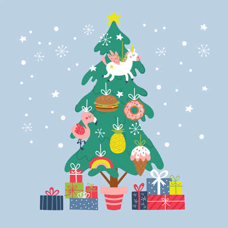 Cute Christmas tree with ornaments and gift boxes. Childish print cards and party invitations. Vector Illustration
