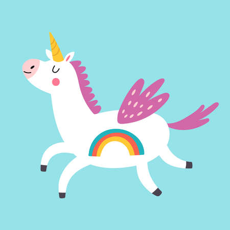 Cute unicorn character design. Childish print for t-shirt, apparel, cards and nursery decoration. Vector Illustration