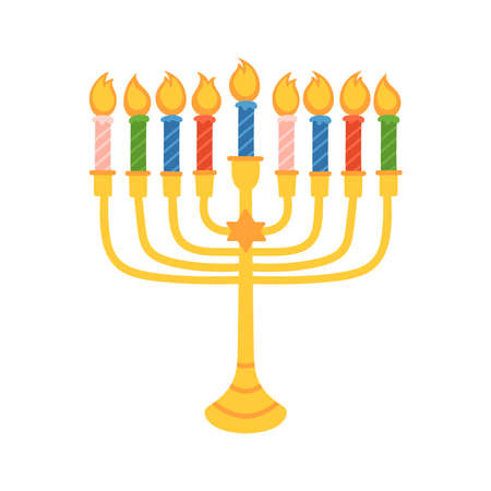 Jewish holiday Hanukkah menorah cute hand drawn design. Childish print for cards, stickers and party invitations. Vector illustration Banque d'images - 134204768