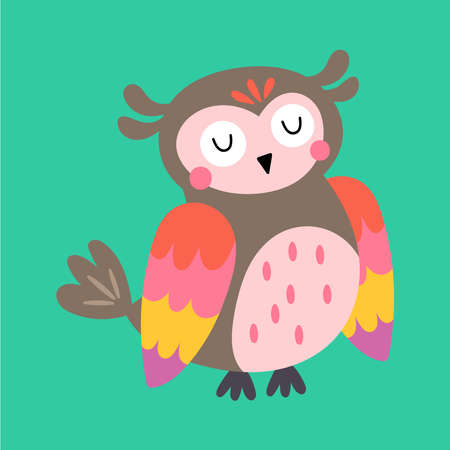 Cute owl character design. Childish print for t-shirt, apparel, cards and nursery decoration. Vector Illustration
