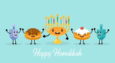 Hanukkah holiday banner design with menorah, traditional doughnuts and dreidel funny cartoon characters