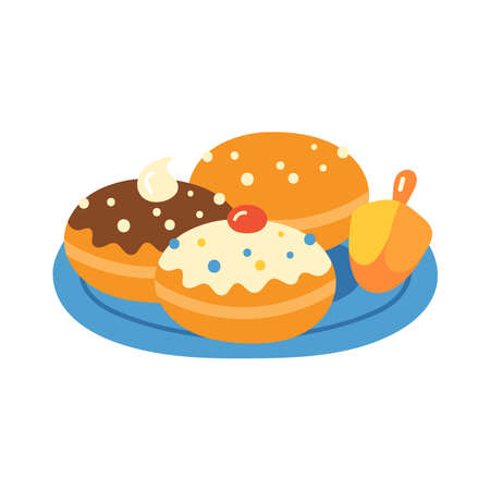 Jewish holiday Hanukkah traditional donuts sufganiyot  cute hand drawn design. Childish print for cards, stickers and party invitations. Vector illustration Banque d'images - 134204773
