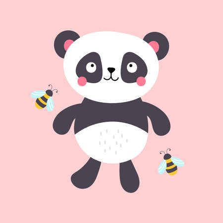 Cute panda character design. Childish print for t-shirt, apparel, cards and nursery decoration. Vector Illustration