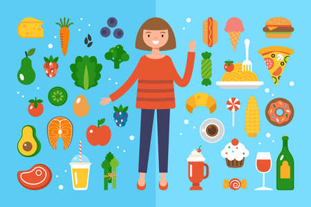 Woman choosing betweeen healthy food and junk food. Healthy eating and dieting concept. Banque d'images - 134204775