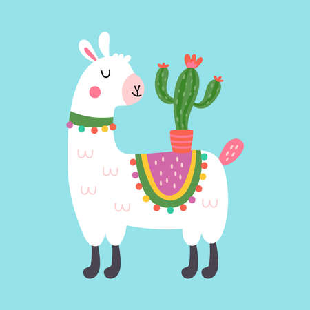 Cute llama character design. Childish print for t-shirt, apparel, cards and nursery decoration. Vector Illustration