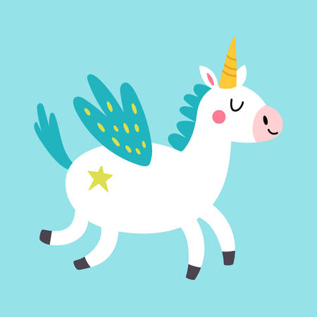 Cute unicorn character design. Childish print for t-shirt, apparel, cards and nursery decoration. Vector Illustration Banque d'images - 134204778