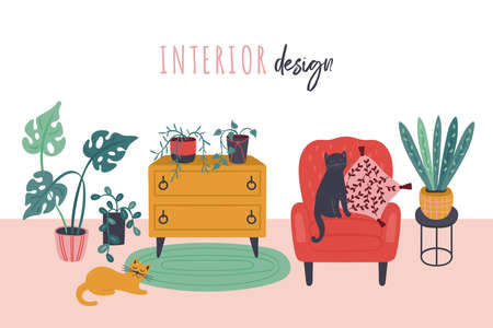 Retro style living room interior with armchair and green plants. Cute hand drawn furniture vector illustration