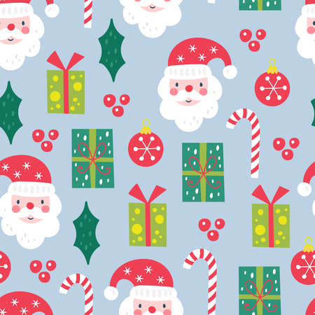 Seamless pattern for Christmas holiday with Santa and gift boxes. Childish background for fabric, wrapping paper, textile, wallpaper and apparel. Vector Illustration Banque d'images - 137792989
