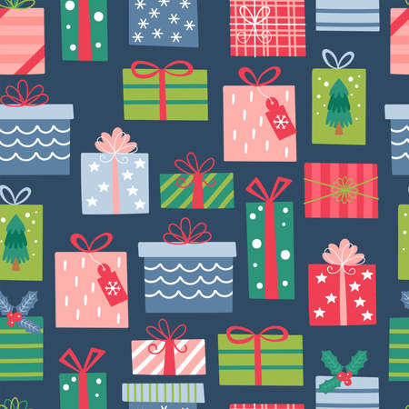 Seamless pattern for Christmas holiday with cute gift boxes. Childish background for fabric, wrapping paper, textile, wallpaper and apparel. Vector Illustration Banque d'images - 137792990