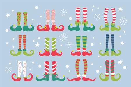 Cute Christmas elf feet with socks and shoes set. Childish print for cards, stickers and party invitations. Vector Illustration Çizim