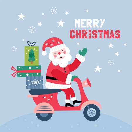 Christmas holiday cute Santa character design. Childish print for cards, stickers, apparel and nursery decoration. Vector Illustration