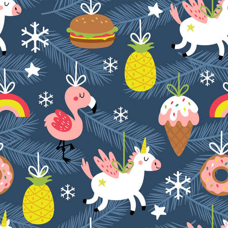 Seamless pattern for Christmas holiday with cute ornaments. Childish background for fabric, wrapping paper, textile, wallpaper and apparel. Vector Illustration Banque d'images - 137792994