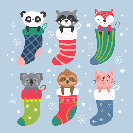 Christmas holiday cute animals in socks set. Childish print for cards, stickers and party invitations. Vector Illustration