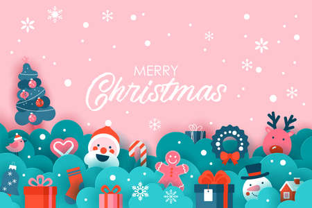 Christmas holiday banner design with paper cut elements  background. Vector illustration Banque d'images - 135550845