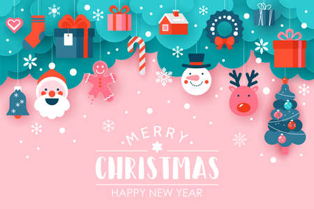 Christmas holiday banner design with paper cut elements  background. Vector illustration Illusztráció