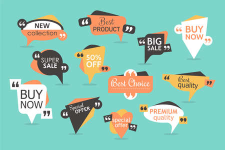 Premium promo stickers and badges. Sale and special offer quote box and speech bubble templates set