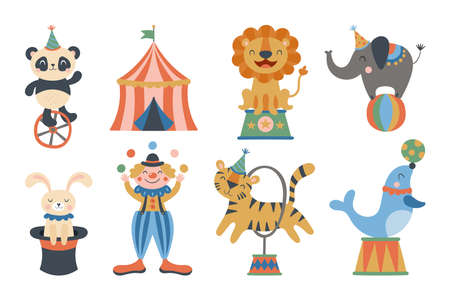 Cute circus animals and clown character design. Childish print for t-shirt, apparel, cards and nursery decoration. Vector Illustration Banque d'images - 136005378