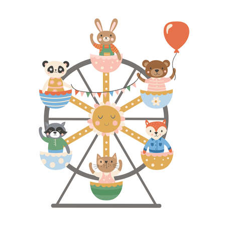 Cute animals characters design riding on ferris wheel. Childish print for t-shirt, apparel, cards and nursery decoration. Vector Illustration Banque d'images - 136005391