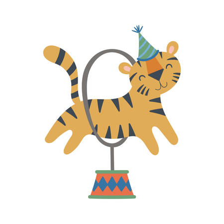 Cute circus tiger character design. Childish print for t-shirt, apparel, cards and nursery decoration. Vector Illustration