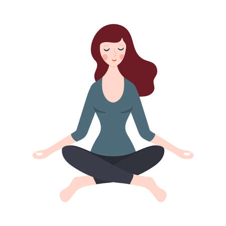 Young woman meditating or doing yoga. Vector illustration Banque d'images - 138338472