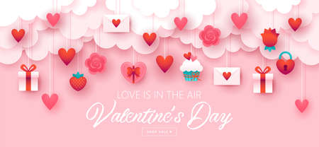 Valentines day holiday banner design with paper cut elements  background. Vector illustration Stock Vector - 137456491