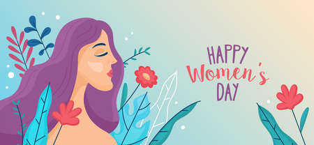 Womens day banner design with young woman and flowers. Vector illustration Çizim